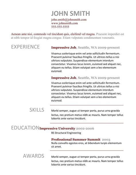 Template Resume 7 Simple Resume Templates Free Best