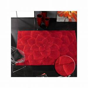 rosace tapis 100 laine de mouton motif fleur rouge With tapis champ de fleurs avec canape cuir de luxe italien