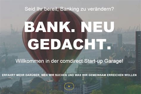 Comdirect Garage by Comdirect Garage Start Up Schmiede F 252 R Bank Existenzgr 252 Nder