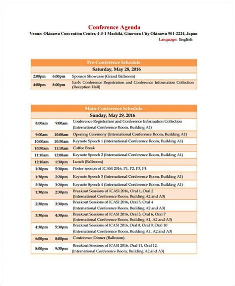 conference agenda format templates  sample
