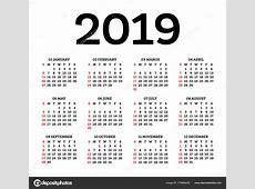Calendário 2019 isolado no fundo branco Começa a semana