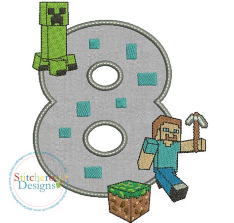 minecraft embroidery design minecraft birthday 8 applique embroidery set by