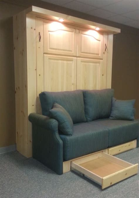 pine murphy bed  double desk  sofa custom