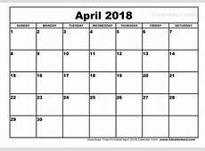 April 2018 Calendar Printable