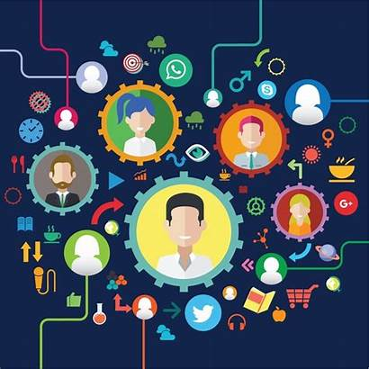 Community Connection Human Infographic Icons Gears Vector