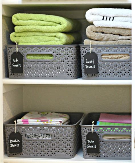 Linen Closet Baskets by Organize Your Home With Baskets Bins And Totes