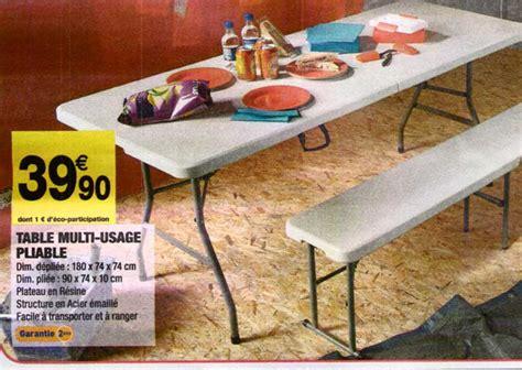 table de pliante carrefour table et banc pliante carrefour