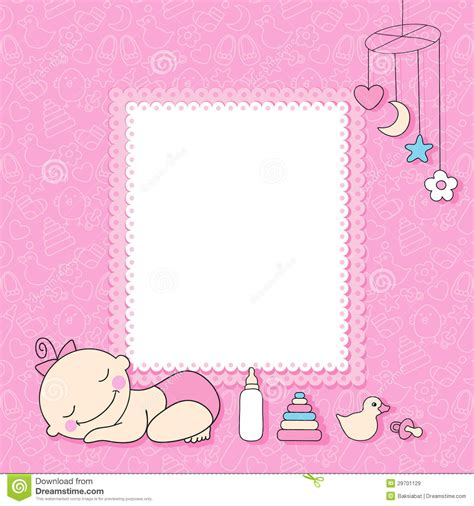 baby girl announcement card stock vector illustration