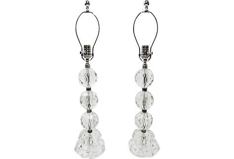 clear silver l cord pair of heavy faceted cut crystal table ls with stacked