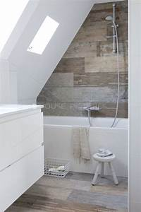 25 best ideas about wood tile shower on pinterest diy for Small attic bathroom sloped ceiling