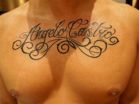 chest lettering tattoo  ramas tattoo
