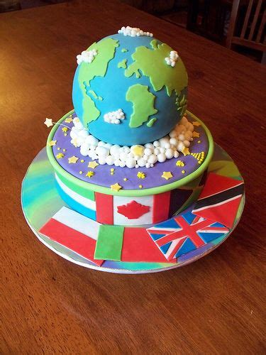 Globe Cake With The Countrys Flags Around The Base