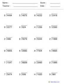 Math Division Worksheets Grade 4