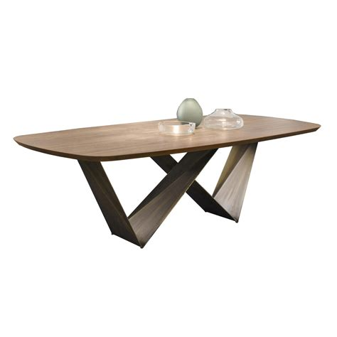 wood steel dining table reflex prisma 72 steel bevel wood dining table