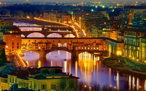 river crossing city night  bing theme wallpaper