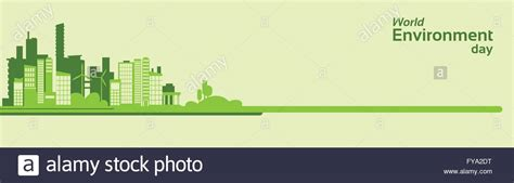 green silhouette eco city flat vector stock vector image world environment day green silhouette city eco banner Beautiful
