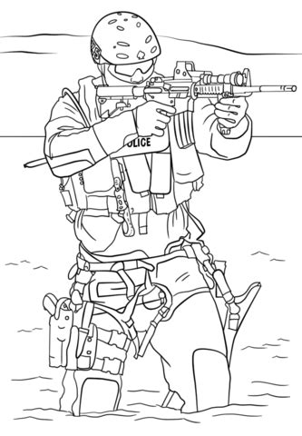 swat police coloring page  printable coloring pages