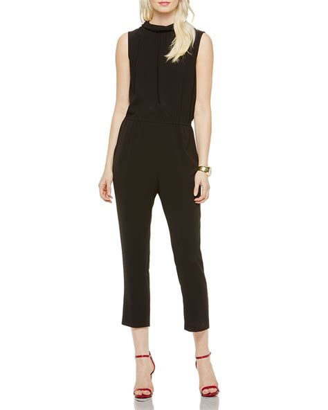 vince jumpsuit vince camuto mock neck jumpsuit in black rich black lyst