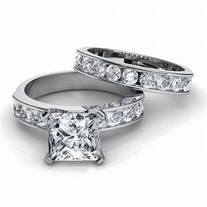 Channel set engagement ring wedding band bridal set for Channel set wedding rings