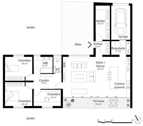 plan de maison plain pied 4 chambres avec garage plan maison en l de plain pied avec garage