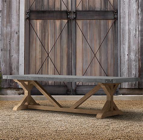concrete teak rectangular dining table