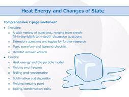 heat energy and changes of state worksheet by goodscienceworksheets teaching resources