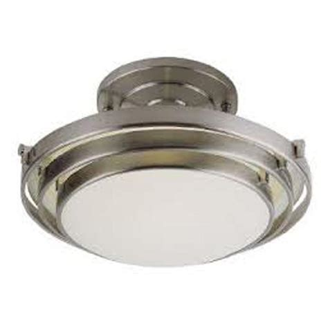 nickel semi flush ceiling lights bel air lighting stewart 2 light brushed nickel cfl