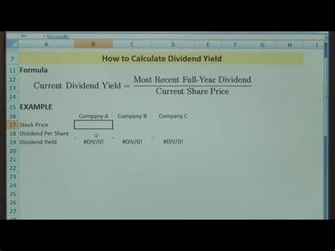 How To Determine Dividend Yield Youtube