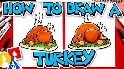 Draw Turkey Cooked Lunch Hub Funny Artforkidshub
