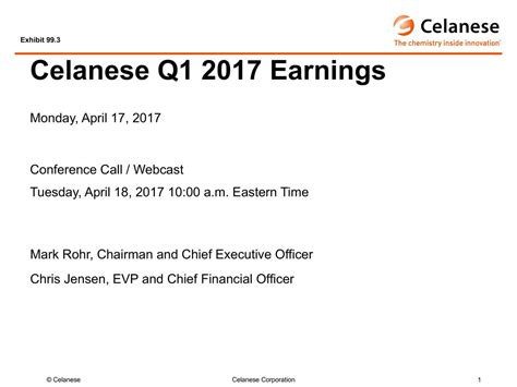 Celanese Corporation 2017 Q1 - Results - Earnings Call ...