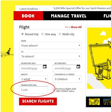 Cabins Usa Promo Codes by How To Apply A Coupon Promotional Code Spirit Airlines