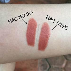 MAC Mocha (satin) vs MAC Taupe (matte) lipstick. Mocha is ...