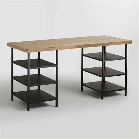 world market desk wood and metal shelf colton mix match desk