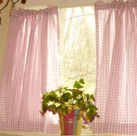 Light PInk Gingham Cafe Curtains