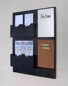 mail organizer cork board white board key hooks With letter holder for the wall