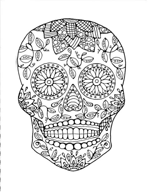 sugar skull coloring pages  printable  grown ups