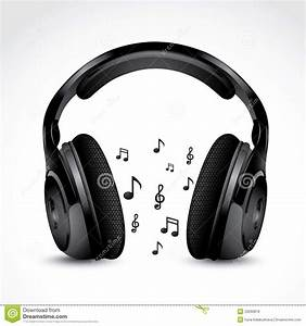 Headphones with notes stock vector. Image of note, disc ...