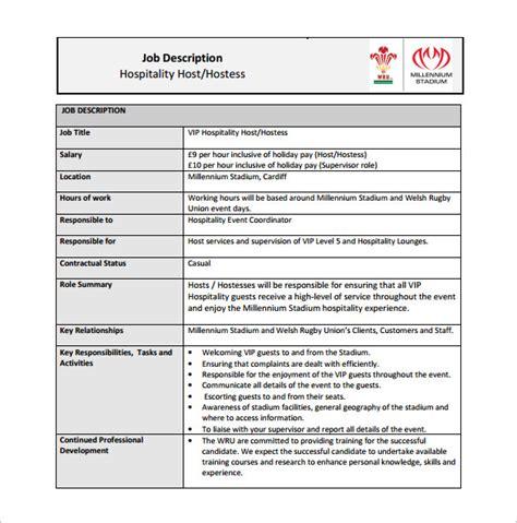 hostess job description templates  sample