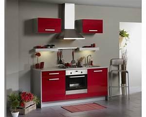 cuisine design joy rouge avec quatre placards un tiroir et With meuble de cuisine pas cher conforama