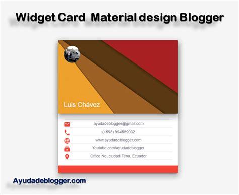 Widget Card Negocios Material Design Blogger Ayuda