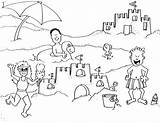 Coloring Beach Sand Castle Trip Pages Building Vacation Summer Printable Getcolorings sketch template