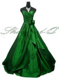 3506 green taffeta rose evening dress