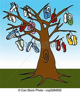 Vector Illustration of Shoe Tree - An image of a tree with ...