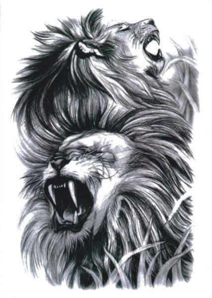 lion roar stickers temporary tattoo waterproof unisex
