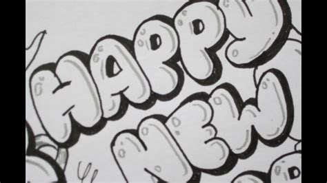 write happy  year  bubble letters youtube