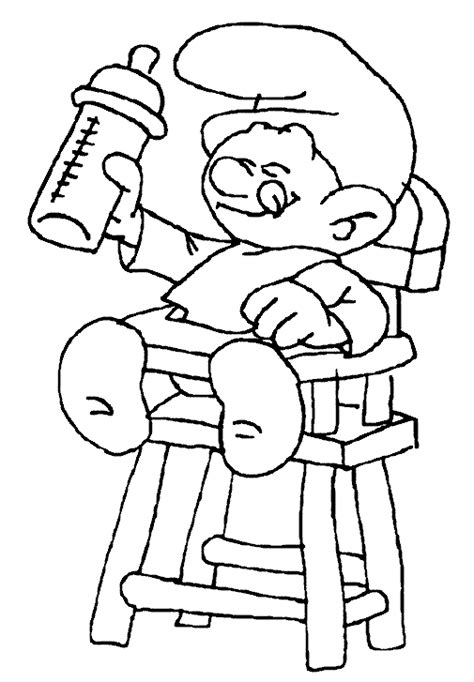 sur chaise bebe stroumpf