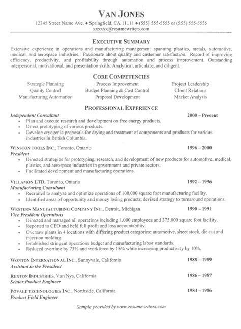 business management resume exle sle business resumes