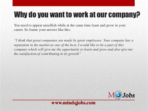 Why I Would Like To Work For This Company by Mindqjobs Fresher Hr Questions