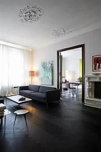 le parquet noir en 45 super photos With parquet pour salon