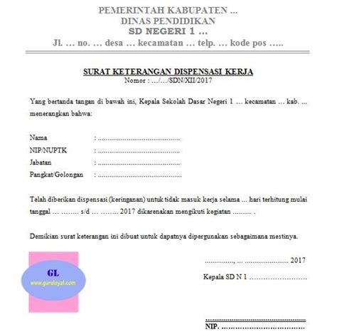 contoh surat dispensasi sekolah kerja  organisasi